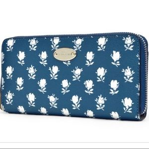 Coach Blue and White Badlands floral Wallet